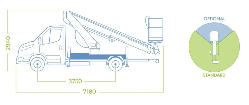 Dimensiones camión con cesta elevadora18T