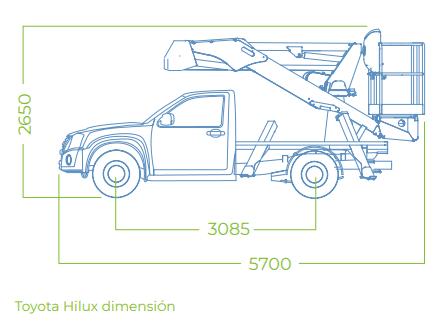 Dimensiones 14A pick up con cesta elevadora