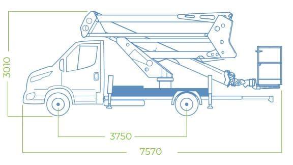 dimensiones camión con cesta elevadora 24D SPEED